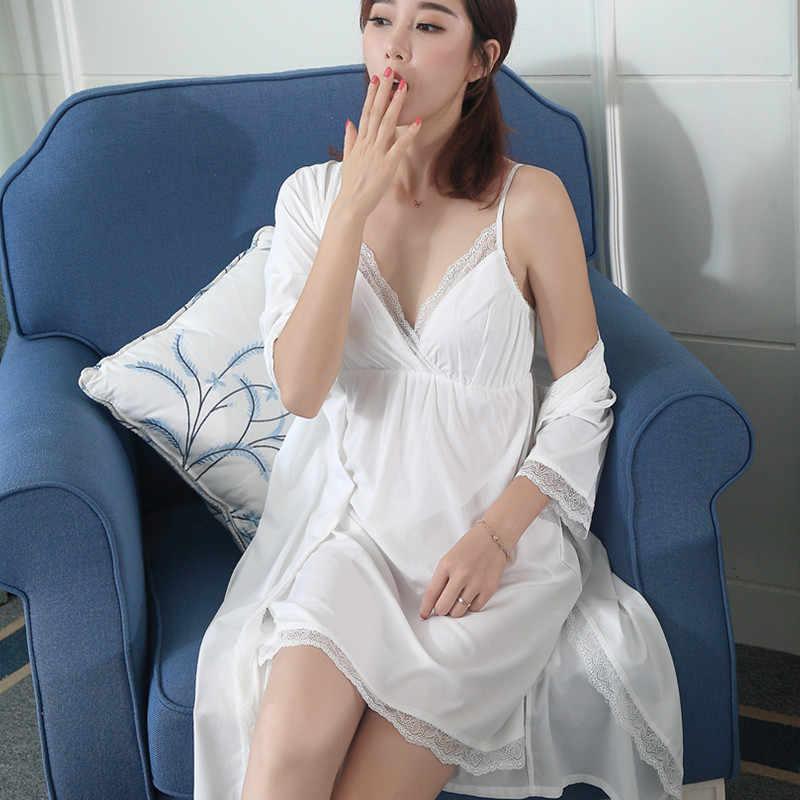 Весенне-осенняя Новая женская шелковая пижама комплект из двух предметов спальный халат + ночная рубашка кружевной дворец сексуальный купальный халат кимоно LMR10