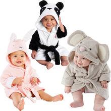 Хлопковое банное полотенце с капюшоном для маленьких мальчиков и девочек, банный халат с милым рисунком мышки/панды/кролика, От 1 до 5 лет