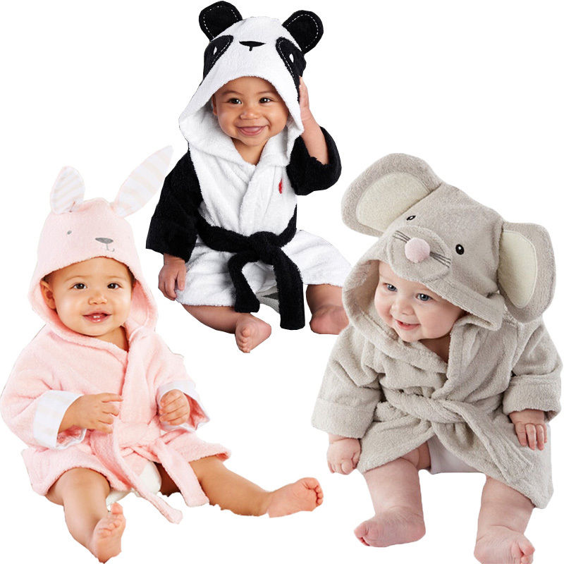 Baby Baby Girl Boy Cotton Hooded Bath Handkle Wrap Bathrobe Söt tecknad mus / Panda / Bunny Design 1-5Y