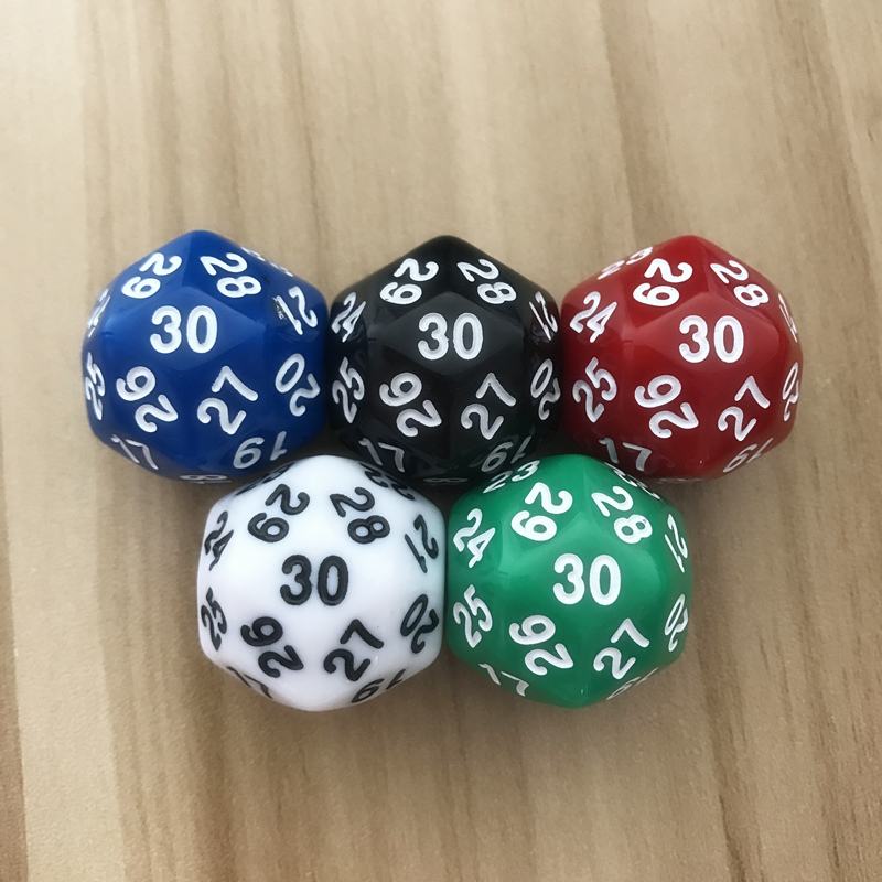 1Pcs Lot D30 Thirty surface 25mm Digital Dice Quality Colour Acrylic Rounded Corners Originality Dice Set Dungeons Yernea in Dice from Sports Entertainment