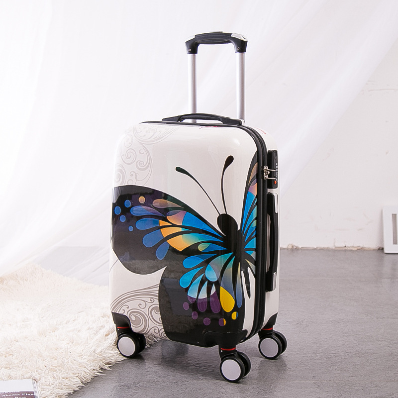 Wholesale!Gril 24 inch pc butterfly hardside trolley luggage bags on 8-universal wheels,super light fashion luggage for female