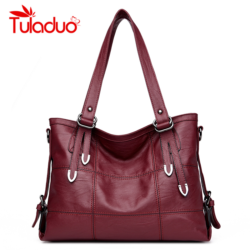 Women Shoulder Bag Casual Totes Bags Leather Big Ladies Handbag Female Soft Material Large Capacity Vintage Bags bolsa feminina high quality travel canvas women handbag casual large capacity hobos bag hot sell female totes bolsas ruched solid shoulder bag