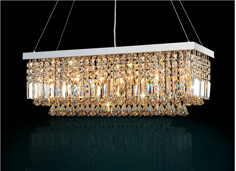 led modern rectangular crystal chandelier light fixture pendant hanging lamp for parlor dining room restaurant decoration in pendant lights from lights - Rectangular Lighting Fixture Dining Room