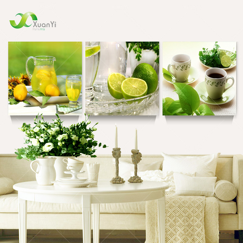 Aliexpress Com Buy Free Shipping 3 Piece Wall Decor: Aliexpress.com : Buy 3 Piece Modern Wall Art Lemon Oil