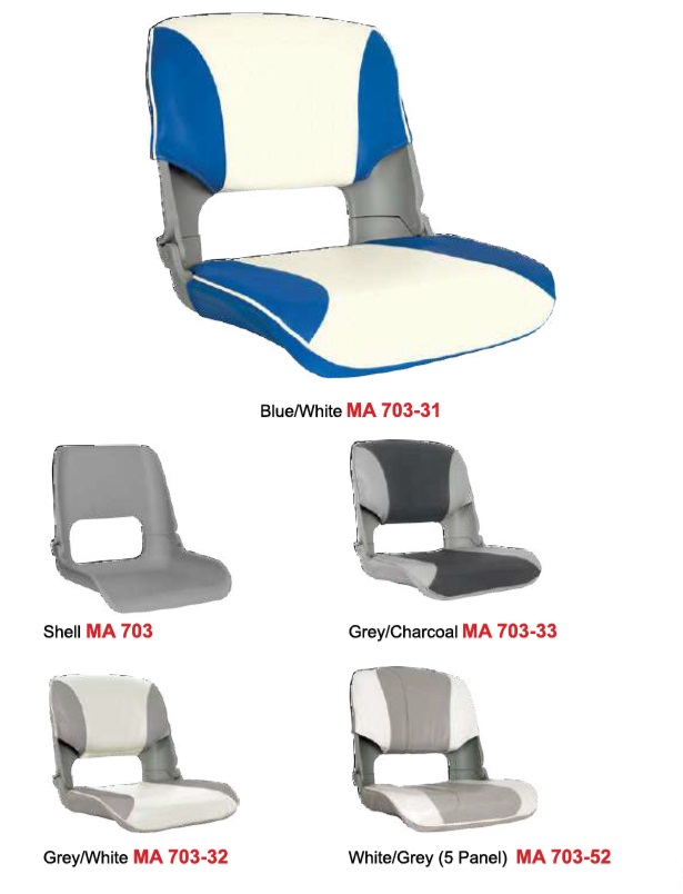 Skipper Folding Boat Seat Upholstered 3 Or 5 Panel Marine Boat Fishing MA 703
