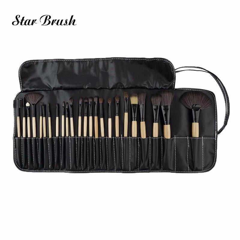 24pcs/lot Wood Makeup Brushes Set Tools Make Up Cosmetics Brush Hair Kit Eyeshadow Foundation Pink Makeup Brush CS02409