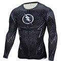 Los hombres de la aptitud t shirt camisa de manga larga de compresión flash 3d muscle fitness camisetas gráficas crossfit hombres clothing