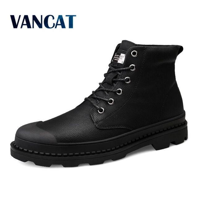 Vancat yüksek kalite hakiki Deri Erkek Botları Kış Su Geçirmez yarım çizmeler binici çizmeleri Açık Çalışma Kar Botları erkek ayakkabısı