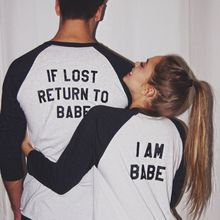 2018 If Lose Return To Babe/ I Am Babe letter Print Long Sleeve Ringer T-shirt Valentine Women New Couple Top Tee Lover O-neck men mixed striped print ringer tee