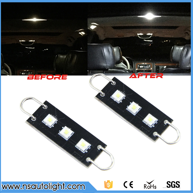 2pcs Xenon White cree chip 1.72 44mm 211-2 212-2 214-2 561 Rigid Loop Festoon LED Bulbs For Car Side Door Courtesy Lights