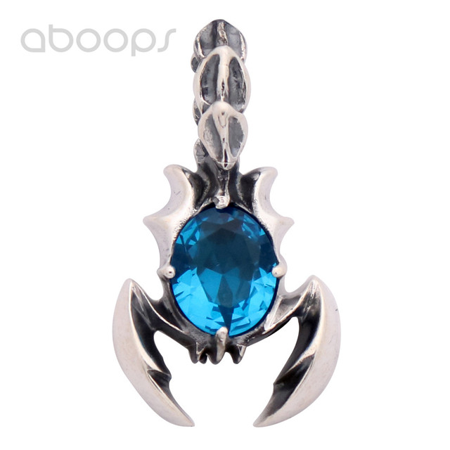 Vintage Gothic Small 925 Sterling Silver Scorpion Necklace Pendant with Blue Corundum for Men Women