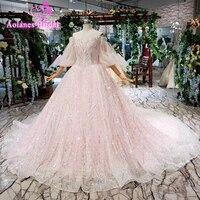 Голубое Бальное платье для выпускного вечера 2019 Розовый Тюль Кружева Формальная Вечеринка Кристаллы Аппликации блёстками арабский лук Веч