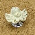 Mango de cobre de cerámica pomo de latón de calidad superior creativo ángel niños perilla tirón del gabinete cajón de dibujos animados de moda mango cromado plateado