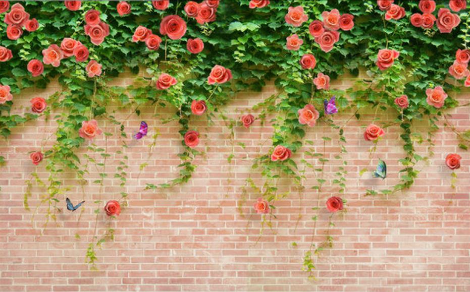 Us 126 58 Offwallpaper Brick Wall 3d Flower Wallpaper Room Wallpaper Landscape Home Decoration Custom 3d Wallpaper Murals In Wallpapers From Home