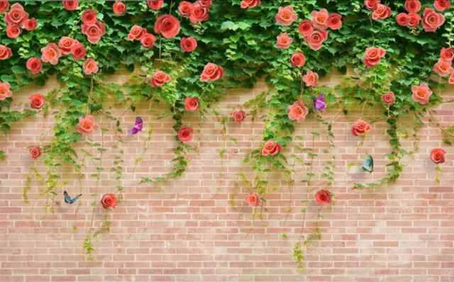 Wallpaper Brick Wall 3d Flower Wallpaper Room Wallpaper