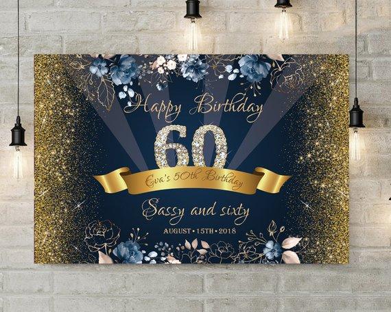 custom navy and gold sassy flower diamond 50th 60th birthday photo backdrop computer print party
