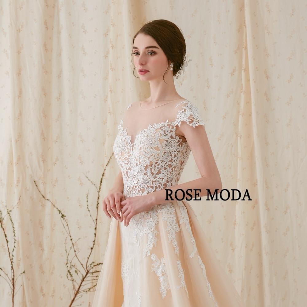 Rose Moda Atemberaubende Spitze Meerjungfrau Brautkleid mit ...