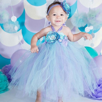Aqua Voile Princess Ariel Flower Girl 1st Birthday Party Dress Alice in Children's Wonderland Costumes for Halloween Tutu Dress