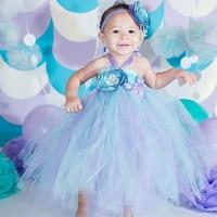 Aqua Voile Princess Ariel Flower Girl 1st Birthday Party Dress Alice in Children's Wonderland Costumes for Halloween Tutu Dress