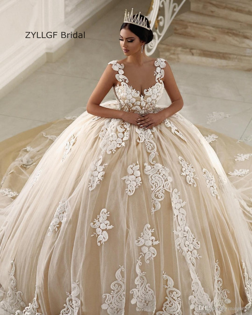 ZYLLGF Bridal Sweetheart Champagne Wedding Gowns Long Train Hippie ...