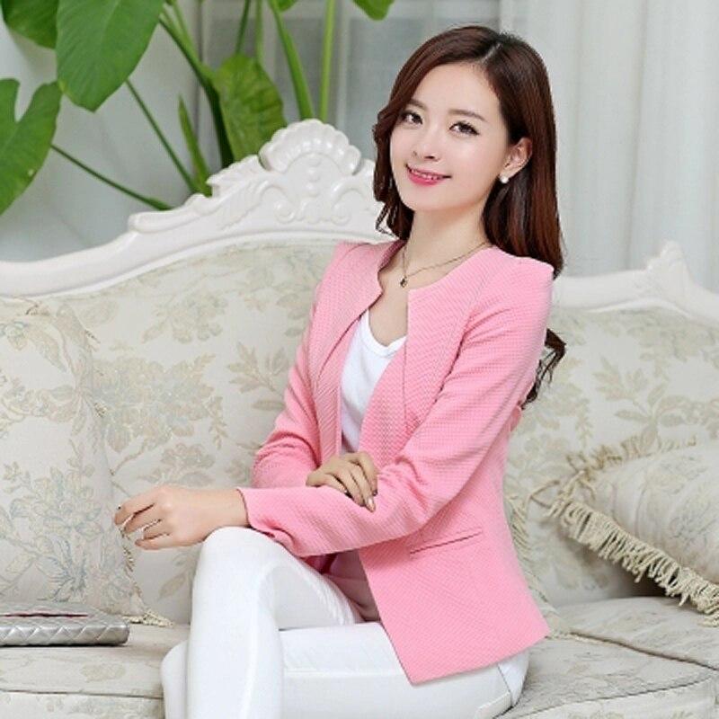 Wholesale Spring Women Slim Blazer Coat 2019 Plus Size Casual Jacket Long Sleeve One Button Suit Lady Blazers Work Wear Top Y068