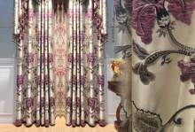 2015   High-end European purple curtain cloth thickness Relief Shading jacquard room curtain screens