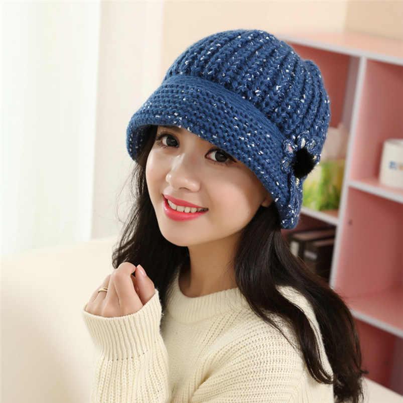 ab33a4258 Women Beanie Hat Winter Hats Flower Soft Knit Crochet Beanie Hat Winter  Warm Female Beret Cap #O25 #N #N