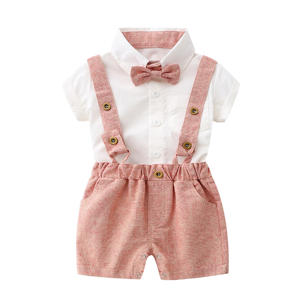 Tem Doger Baby Boys Gentleman Suits Summer Short Sleeve Bow tie Shirts + Straps shorts 2 Pcs Sets Infant Outfits