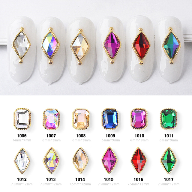 10pcs Charm Alloy Base 3D Nail Art Rhinestone Decorations Flat back Shiny Crystal Jewelry Diamonds Design