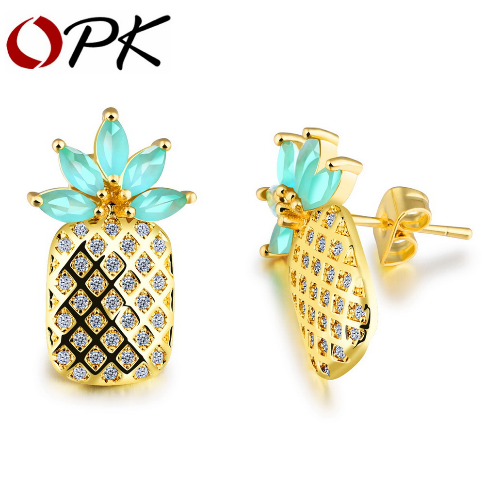 Opk Cute Pineapple Stud Earrings For Women Candy Color Cz Zirconia Leaves  Gold Color Female Party