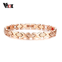 d0cab812f32 Vnox Bright Rose Gold Color Stainless Steel Magnetic Bracelet for Women Men  Bio Energy Power Therapy Healing Unisex Jewelry