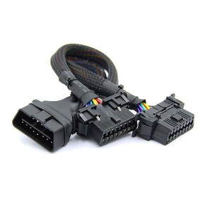 Image 5 - Novo obd2 macho para dupla fêmea cotovelo cabo de extensão com 16 pinos disponíveis para conectado 1 em 2 convertido obd 2 extensor adaptador
