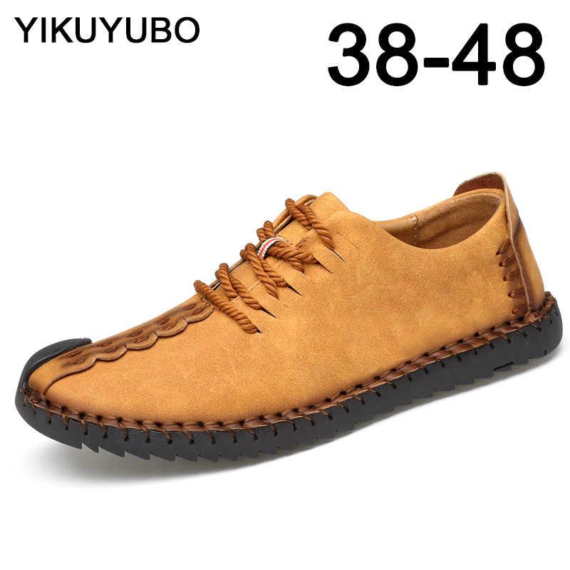 YIKUYUBO Klassieke Comfortabele Men Casual Loafers Schoenen Kwaliteit Split Lederen mannen Hot Koop Flat-Bottom Big Size Schoenen