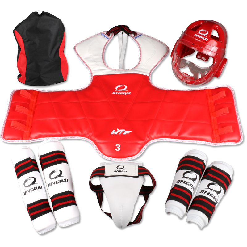 Hot 6pc taekwondo Protectors karate helmet mask TKD body gear arm & shin guard chest protector groin Guard support FREE Shipping free shipping wesing women karate chest guard female boxing chest protector approved wkf
