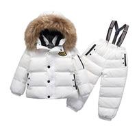 Girls Boy Snowwear Kids Winter Jumpsuit Windproof Waterproof Warm Duck Down Jacket Pants Snowboarding Children Clothing Set Suit