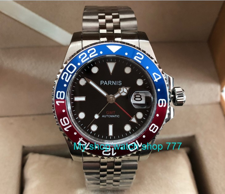 40mm parnis safira cristal gmt automatic machinery movimento luminoso relógios masculinos azul & vermelho moldura pa61-p8