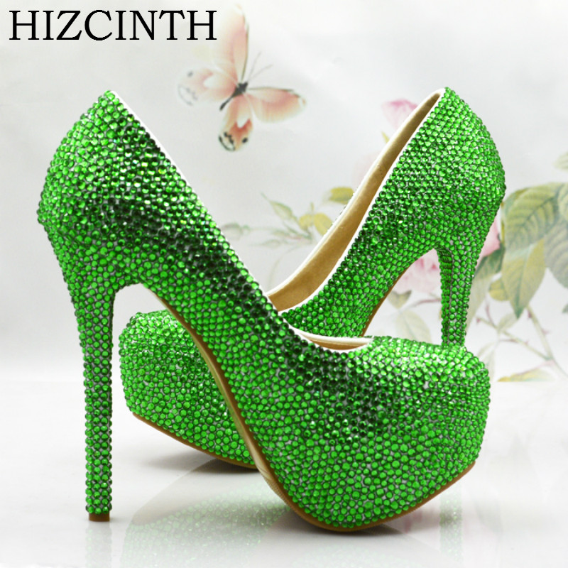 HIZCINTH Bride Wedding Shoes Green Diamond Crystal Pumps Rhinestone High Heels Platform Marry Party Shoes Woman  Zapatos Mujer new pink red rhinestone diamond bride s shoes super high heels crystal bowl wedding shoes elegant sandals female pumps feminina