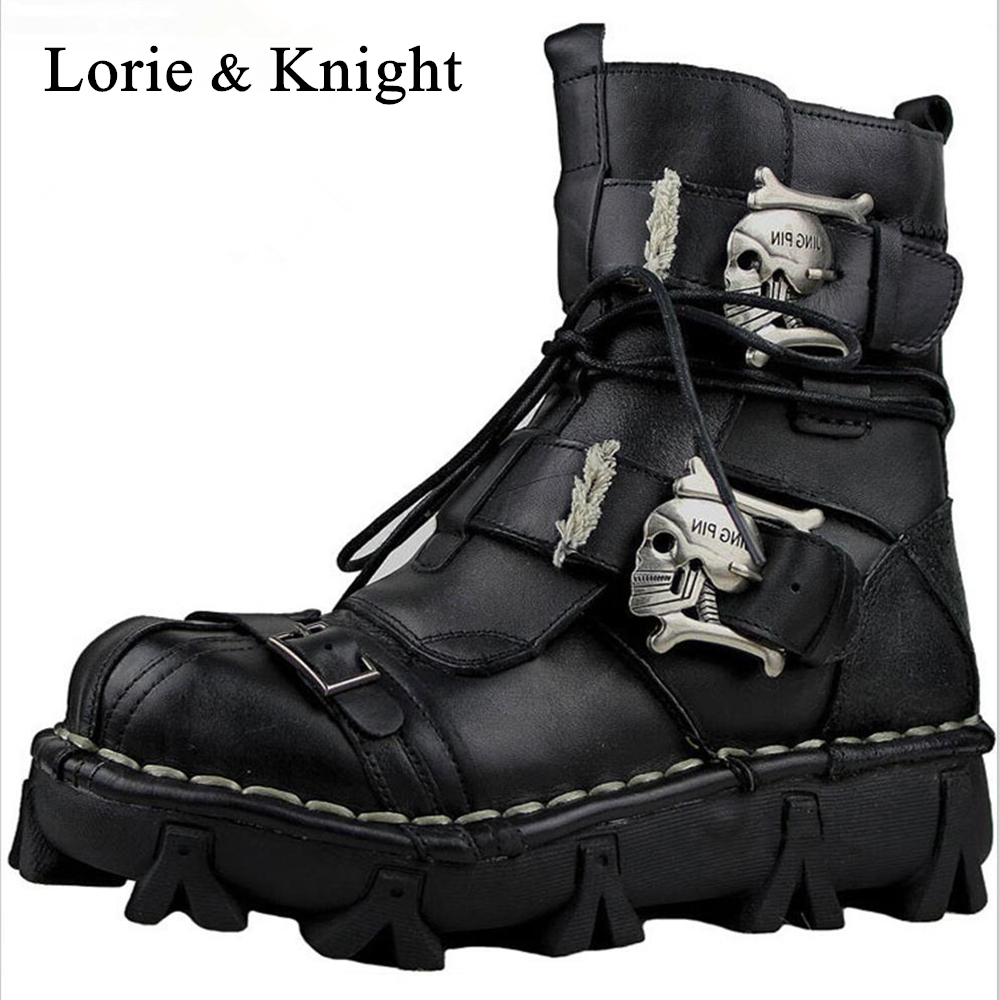 Мужские ботинки из натуральной кожи с черепом в готическом стиле и стиле панк, мотоциклетные ботинки martin