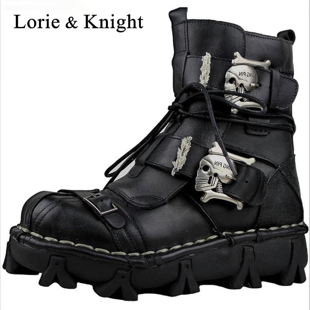 De cuero genuino de los hombres de cráneo gótico Punk Rocker botas motocicleta botas Martin