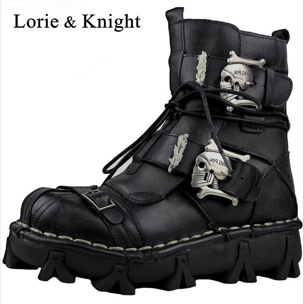 Männer Echte Leder Schädel Gothic Punk Rocker Stiefel Motorrad Martin Stiefel