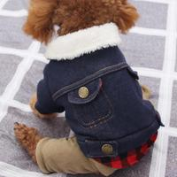 Pet Dog Clothes Pet Roupa Denim Fleece Warm Outwear Coat Jacket Dog Clothes For Small Dogs Color Matching Jacket