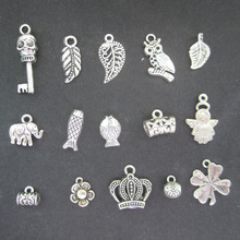 (15pieces/lot)  Mix Vintage Silver alloy Metal Findings Pendants Charms Beads Jewelry DIY