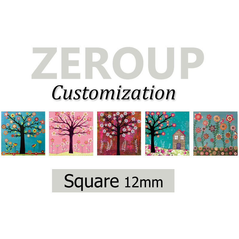 ZEROUP Professional customized services 12mm square pictures glass cabochon mixed patterns jewelry components 280pcs/lot