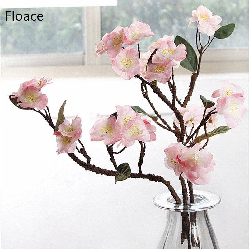 Flores artificiales de cerezo japonés Hydra, flores decorativas falsas para boda, nuevo hogar, 1 unidad, 4 colores