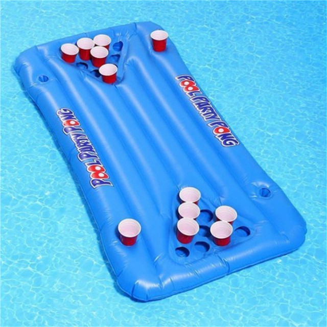 New Arrival 24 Cup Holder Inflatable Beer Pong Table Pool Float Summer  Water Party Fun Air