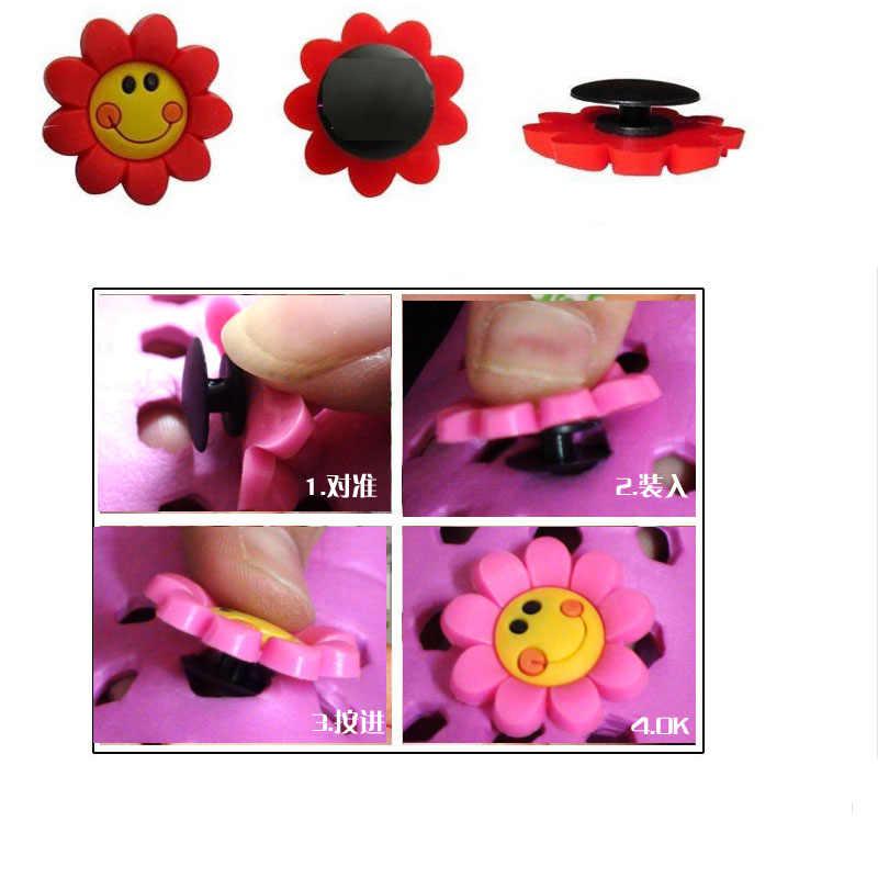 SENTCHARM 19 adet/takım Çiçekler Güneş Yenilik Aksesuar Için bahçe ayakkabısı Croc Karikatür Güzel Ayakkabı Dekorasyon