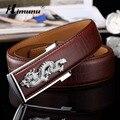 Himunu Marca Smooth Hebilla Hombres Cinturón de Moda de Lujo de Cocodrilo piel de Vaca Cinturones de Cuero Genuino Para Los Hombres China Drogrn Decoración
