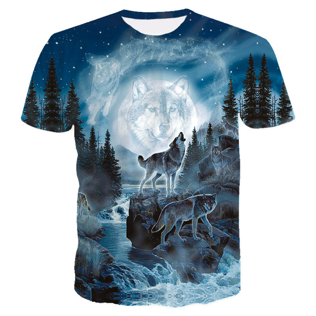d8cd72e7f2db 2018 New Style Brand T Shirt 3D Men Blue Space Mountain Wolf Graphic T-Shirt  Men Boy Summer Clothing Casual T shirt