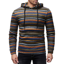 Colorful Striped Men's Sweatshirt Casual Loose Long Sleeve Hooded Pullover Spring Autumn Male Streetwear Plus Size M-2XL