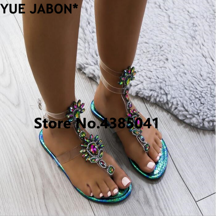 HTB1ayUyAmtYBeNjSspaq6yOOFXat 2019 shoes woman sandals women Rhinestones Chains Flat Sandals Thong Crystal Flip Flops sandals gladiator sandals 43 free ship